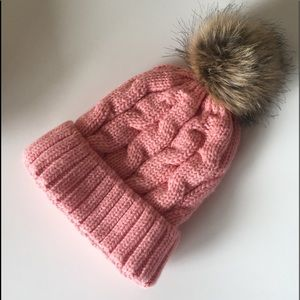 Pink Knit Lined Beanie with PomPom